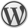 Grey logo of Wordpress