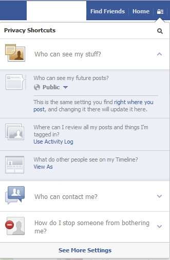 Facebook New Privacy Settings Made Simpler with Shortcut