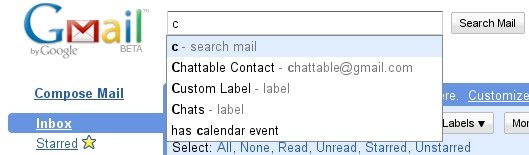GMail Lab new feature search autocomplete