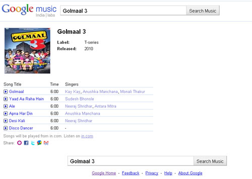 Songs of Golmaal 3 in google music search
