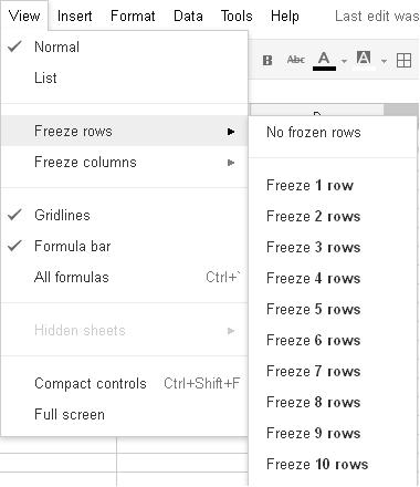 Google Docs Spreadsheet Freeze 1st Row, Fixed Row Header