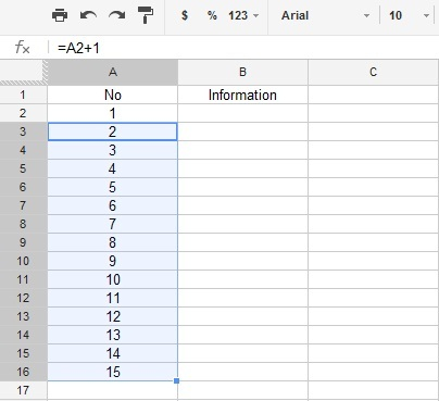 Google Excel Spreadsheet Drag Numbers with Formula to Increment.