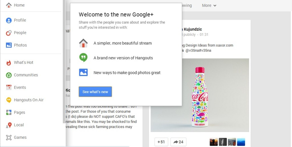 Google Plus New Design is Now Live