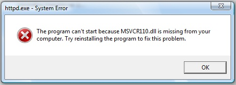 Solution to MSVCR110.dll missing problem. Install msvcr110.dll